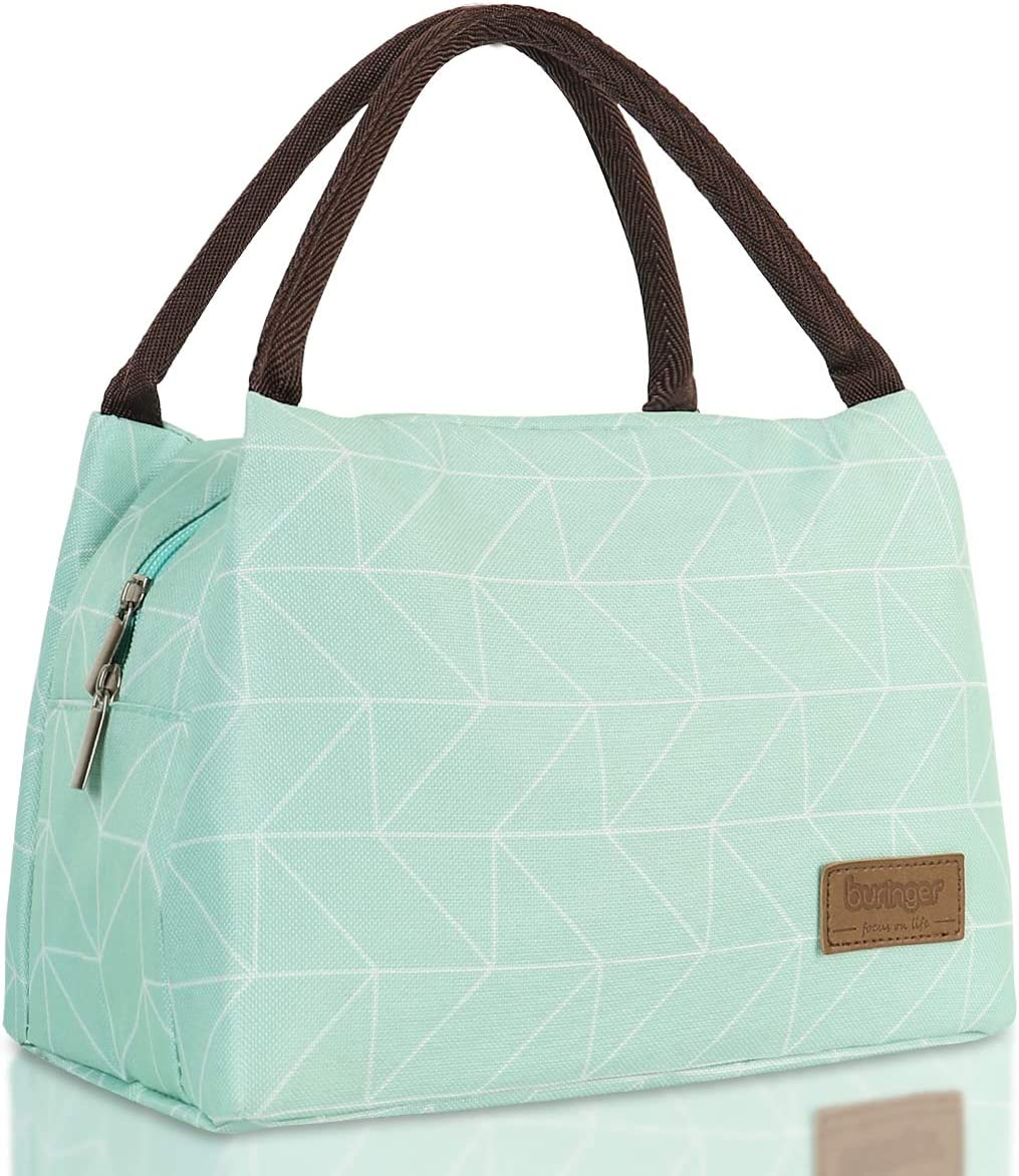 Buringer Reusable Insulated Lunch Bag Cooler Tote Box Meal Prep for Men & Women Work Picnic or Travel (Geometry Green Large Size)