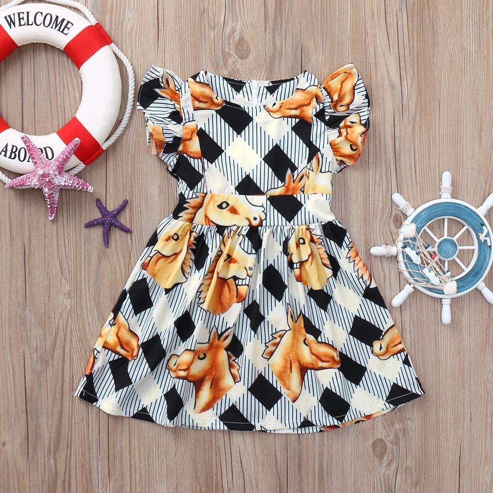Baby Girls Summer Outfit,Jchen Toddler Kids Baby Girls Boys Lace Off Shoulder Tops+Bow Strap Skirts Outfits for 0-5 Yrs