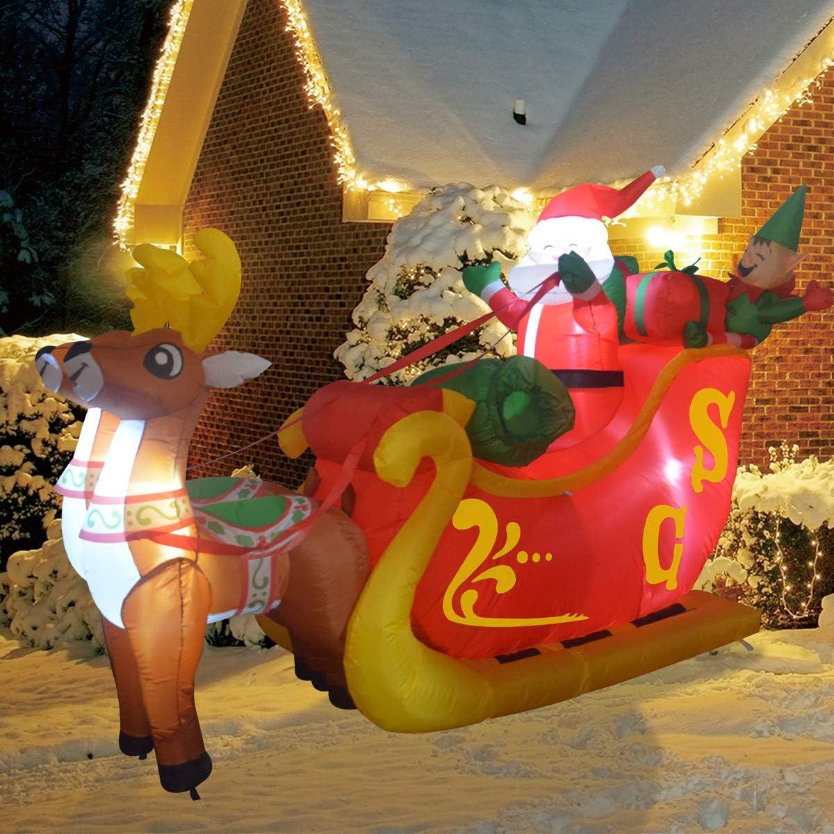 GOOSH 7Foot Christmas Inflatable Deer cart Yard Decoration, Indoor Outdoor Garden Christmas Decoration