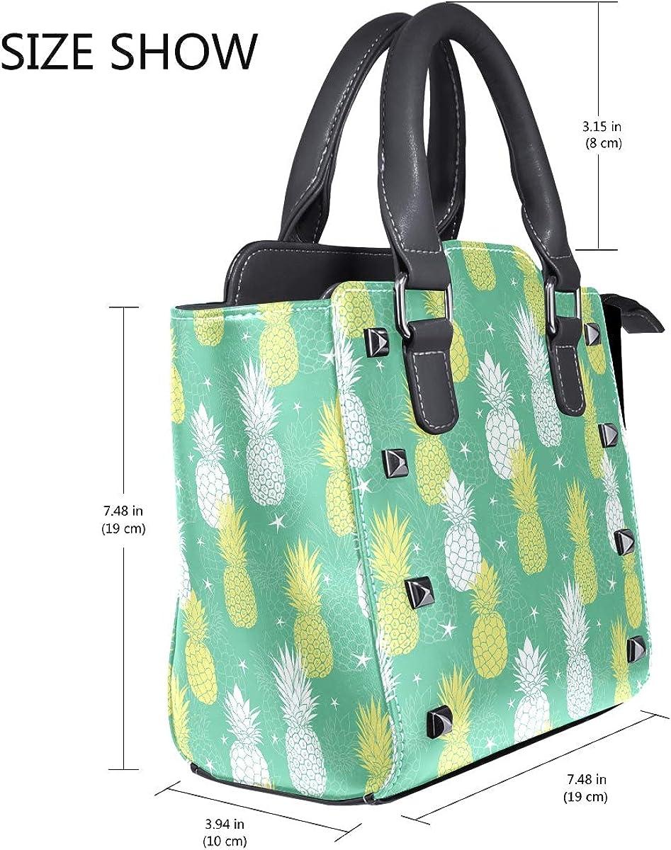 Green Gold Pineapple Decorations Womens fashion Handbags Shoulder Bags Handle Satchel