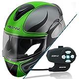 Hawk H-66 Blaze Matte Grey/Green Dual-Visor Modular Helmet with Hawk COM-2 Blue - Large w/ COM-2 Intercom