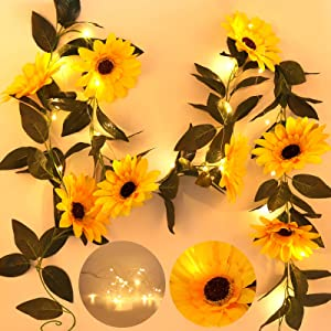 RECUTMS 7.2 FT 20 LED Artificial Sunflower Lights Garland - Silk Sunflower Vines with 8 Flower Heads Battery Powered Fairy String Lights for Indoor Home Garden Party Bedroom Wedding Decor