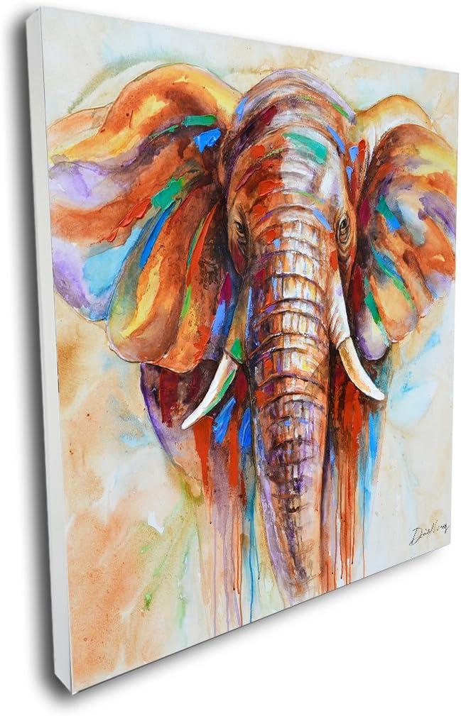 Pinetree Art Vibrant Wall Art Elephant Artwork Unique Elephant Head Decor Painting on Canvas for Living Room (40 x 40 inch, B)