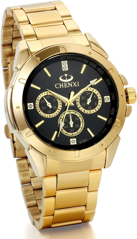 JewelryWe Reloj Cuarzo Hombre Commercial caso decoración tres ojos reloj aleación pulsera acero inoxidable color oro con bolsa regalo