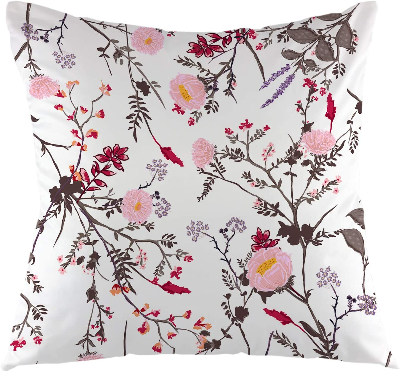 Amazon Com Ofloral Trendy Floral Throw Pillow Cover Tropical Botanical Flowers Square Cushion Case For Sofa Couch Car Bedroom Living Room 18 X 18 Inch Home Kitchen
