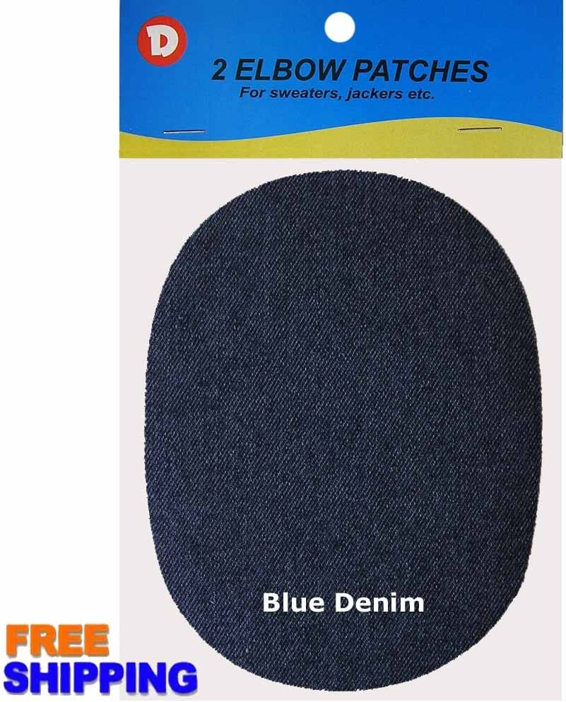 Blue 2 Oval Denim Iron-On Elbow Patches 4.5 x 5.5 Inch