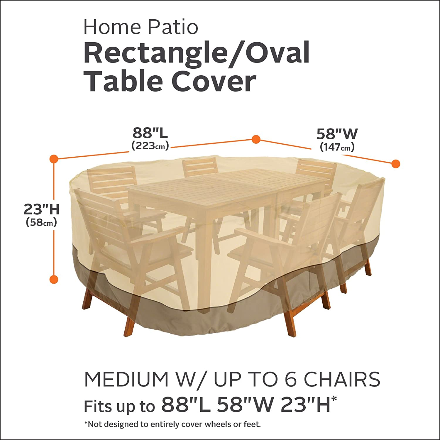 Charmant Amazon.com : Classic Accessories Veranda Rectangular/Oval Patio Table U0026  Chair Set Cover   Durable And Water Resistant Outdoor Furniture Cover, ...