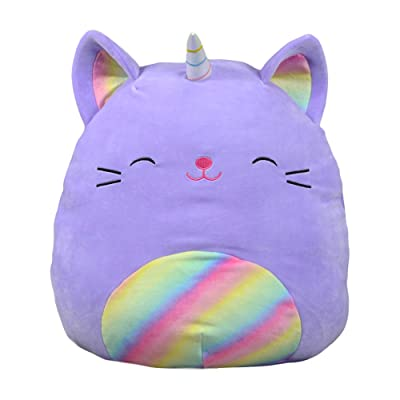 Squishmallows Kellytoy Cienna The 16 Inch Purple Rainbow Caticorn Plush Stuffed Animal Pillow Pet: Home & Kitchen