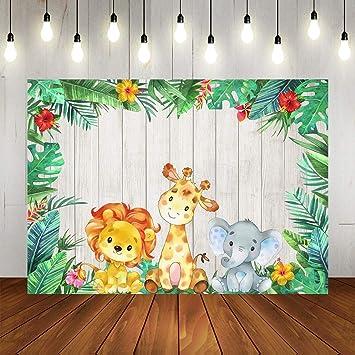 Baby Shower Safari Nino Decoracion.Woodland Backdrop Jungle Animals Baby Shower Photo Backdrop Watercolor Safari Elephant Lion Giraffe Foliage Backgrounds For Kids Birthday Decorations