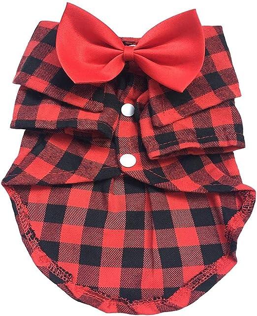 Liuliangmei Camisa De Verano para Mascotas, Camisa Casual De Algodón A Cuadros, Pajarita Roja Ajustable, Color: Azul/Rojo,Red,XXL: Amazon.es: Hogar