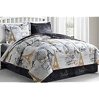 Fairfield Square Collection Paris Gold 8-Pieces Reversible Comforter Sets (White)