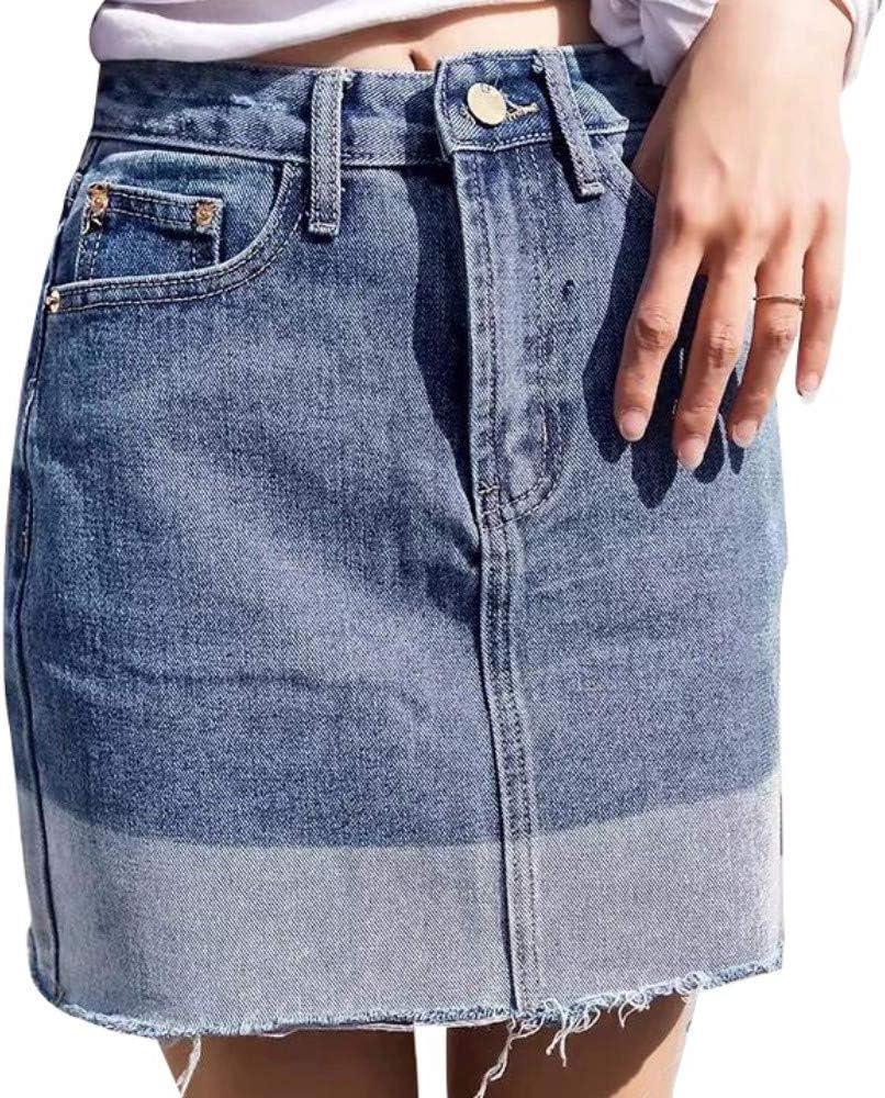 XHSSF-Falda vaquera Sexy Forma de Cintura Alta con Flecos Cortos ...