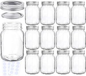 KAMOTA Mason Jars 18 oz With Regular Lids and Bands, Ideal for Jam, Honey, Wedding Favors, Shower Favors, Baby Foods, DIY Magnetic Spice Jars, 12 PACK, 20 Whiteboard Labels Included