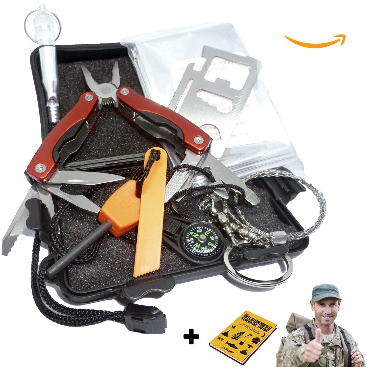 AVStar - Kit de Supervivencia y Emergencia Profesional, +20 funciones, excursiones acampadas y caminatas seguras: silvato cuchillo manta sierra herramientas ...