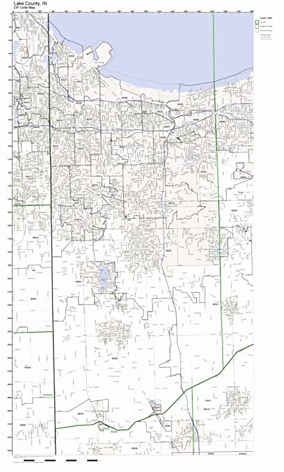 Amazon.com: Lake County, Indiana IN ZIP Code Map Not Laminated: Home on