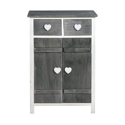 Rebecca Mobili Mesita de noche blanca gris, cajonera con 4 cajones, de madera, para cuarto de baño dormitorio - Medidas: 73 x 51 x 31 cm (AxANxF) - ...