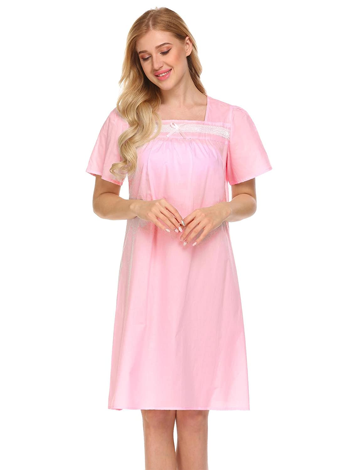 16ae32ee88 Miuniu Victorian Nightdress Womens Cotton Short Sleeve Lace Trim Lounge  House Sleep Dress Sleepwear at Amazon Women s Clothing store