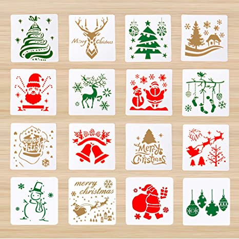 16 Pieces Christmas Stencils Template Reusable Plastic Craft for Art Drawing Painting Spraying Window Glass Door Car Body