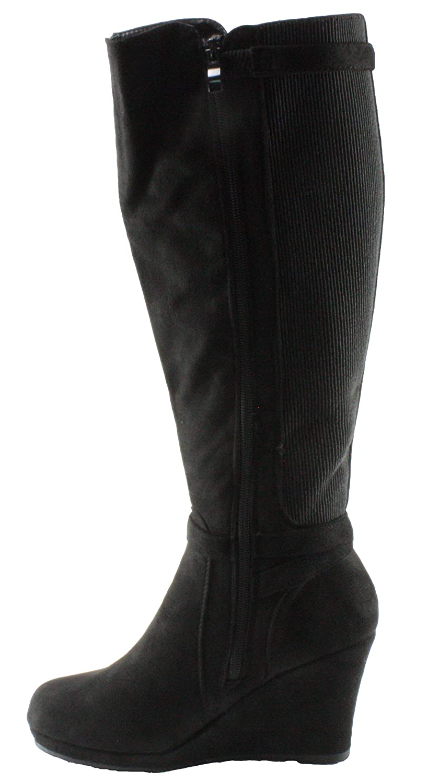 Top Moda Womens Maden-15 Faux Suede Elastic Shaft Knee High Platform Wedge Heel Dress Boots