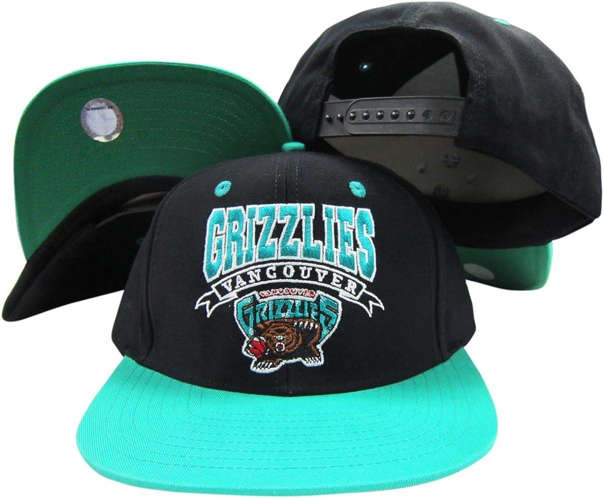 Vancouver Grizzlies Black/Teal Two Tone Snapback Adjustable Plastic Snap Back Hat/Cap