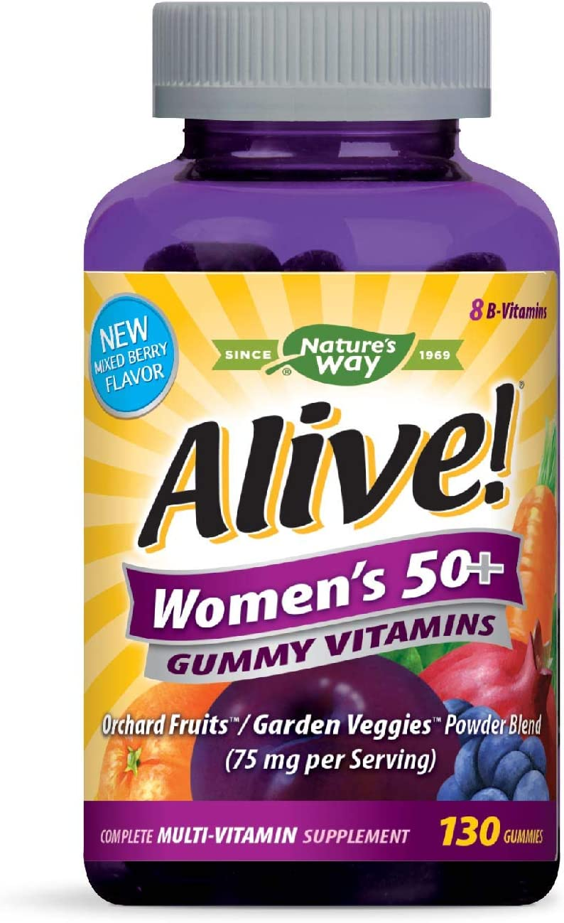Nature s Way Alive Women s Gummy Multivitamin, Fruit and Veggie Blend 75mg per serving , Full B Vitamin Complex, Gluten Free, Made with Pectin, 130 Gummies