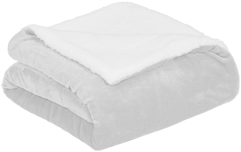 AmazonBasics Micromink Sherpa Blanket - Super-Soft, Wrinkle-Resistant - Throw, Grey