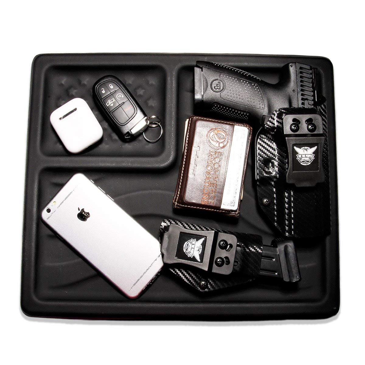 We The People Holsters - American Flag EDC Kydex Dump Tray - Valet Tray for Men - EDC Organizer and Catch-All for Everyday Carry, Keys, Change, Phone (Black) by We The People Holsters (Image #2)
