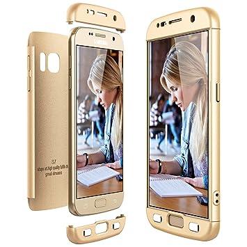 CE-Link Funda Samsung Galaxy S7, Carcasa Fundas para Samsung Galaxy S7, 3 en 1 Desmontable Ultra-Delgado Anti-Arañazos Case Protectora - Oro