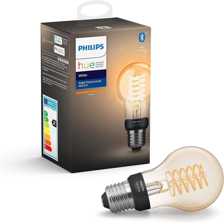 Philips Hue Bombilla Inteligente LED E27, con Bluetooth, Filamento A60, Luz Blanca Cálida, Compatible con Alexa y Google Home