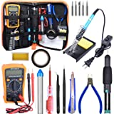 Soldering Kit,Soldering Iron Kit 60W 110V with Temperature Welding Tool,Digital Multimeter,5pcs Soldering Iron Tips,Desoldering Pump,Wire Stripper Cutter,Tweezers,Rosin,Soldering Iron Stand