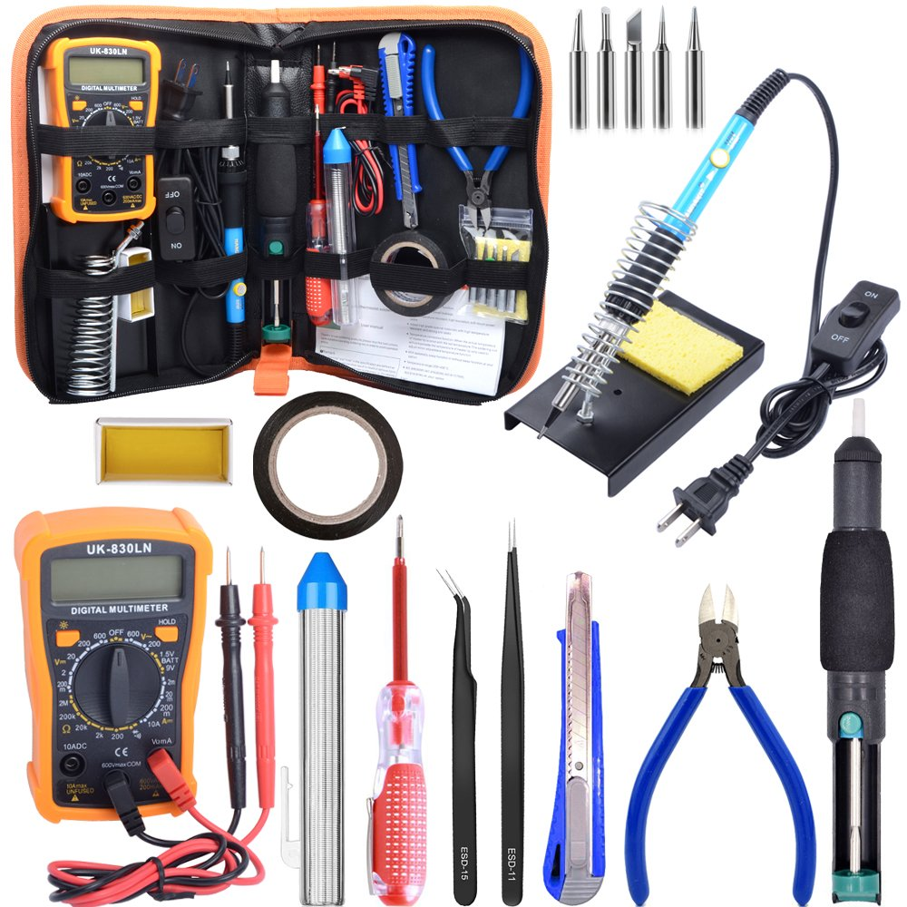 Soldering Kit,Soldering Iron Kit 60W 110V with Temperature Welding Tool,Digital Multimeter,5pcs Soldering Iron Tips,Desoldering Pump,Wire Stripper Cutter,Tweezers,Rosin,Soldering Iron Stand