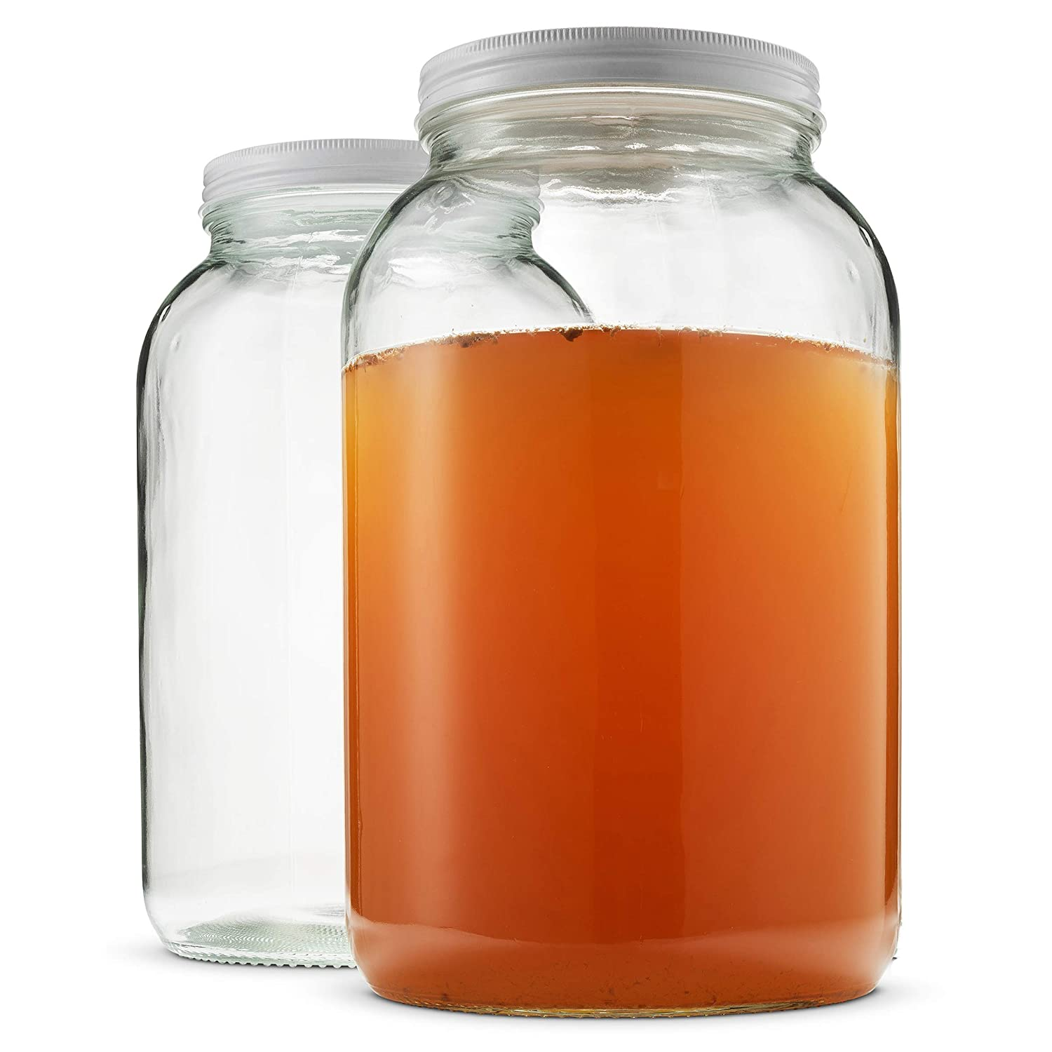 Paksh Novelty Wide Mouth 1 Gallon Clear Glass Jar + Metal Lid With Airtight Liner Seal • Use for Fermenting Kombucha/Kefir, Storing and Canning • USDA Approved, Dishwasher Safe (2 Pack)