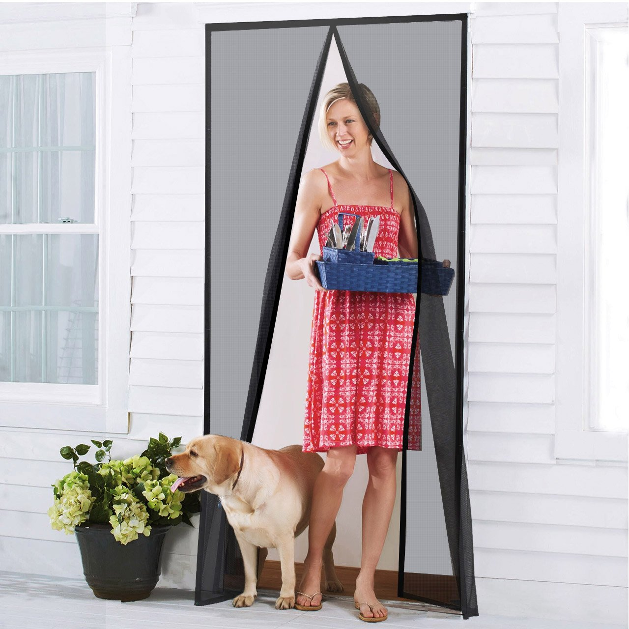"Homitt [Upgraded Version] Magnetic Screen Door with Durable Fiberglass Mesh Curtain and Full Frame Hook & Loop Fits Door Size up to 36""x82"" Max- Black"