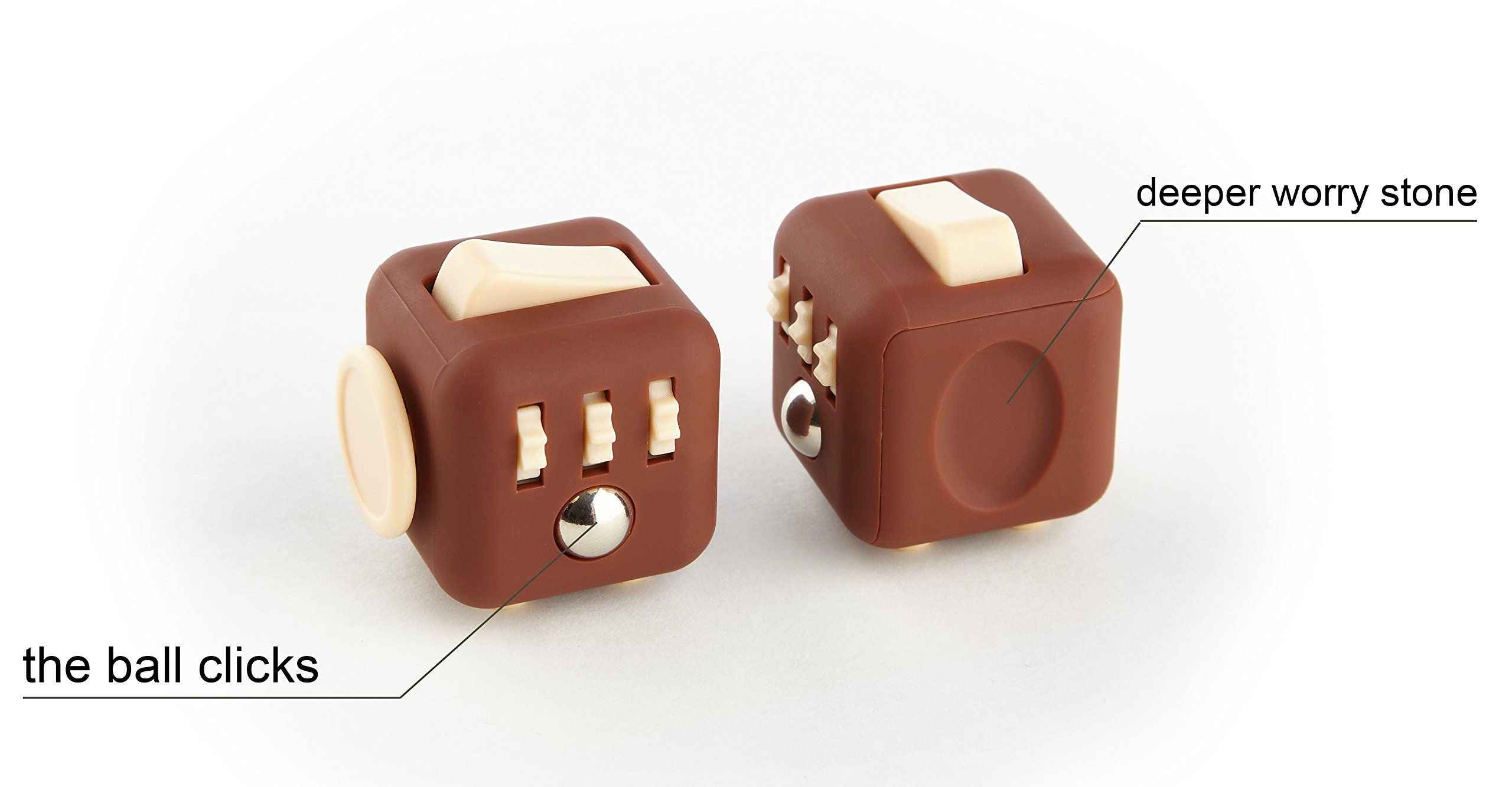 Moral Illusion Joy Cube - Chocolate Fidget Cube For Stress And Anxiety Relief ADHD, ADD, OCD - Silent Focus Dice With Extra Durable Silicone For Children And Adults - Quality Inspected Product