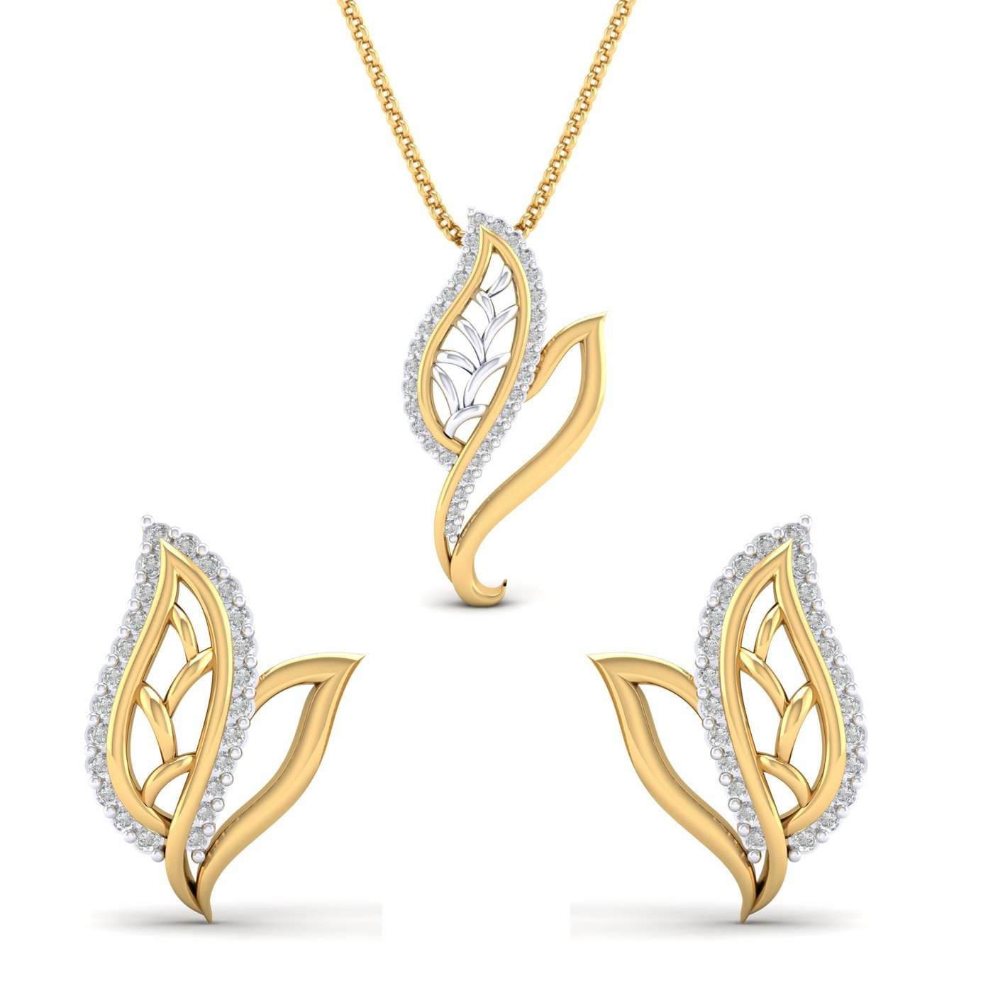 SwaraEcom 14K Yellow Gold Plated Round AAA CZ Double Leaf Design Pendant Earrings Jewelry Set for Women Thanksgiving Day