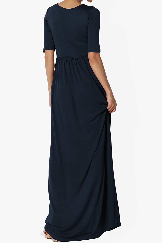 1de036b8102 TheMogan Womens   Plus 1 2 Short Sleeve Shirred Jersey Round Neck Long Maxi  Dress at Amazon Women s Clothing store