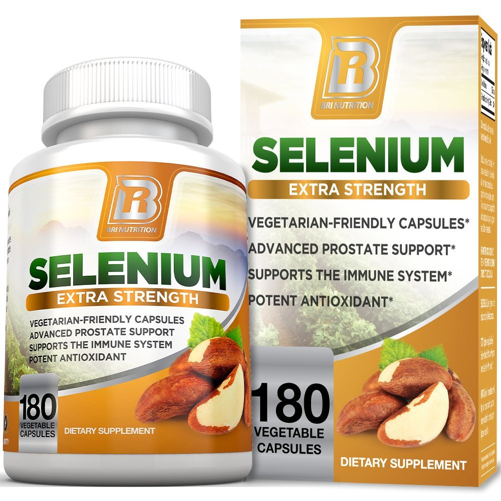 BRI Nutrition Selenium - Natural Antioxidant Supplements Helps to Fortify Immune System, Maintain Heart Health & Combat Free Radical Damage - 200mcg, 180 Vegetable Capsules