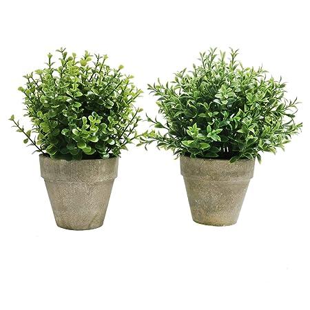 U\'Artlines Confezione da 2 piante artificiali in plastica Mini Topiary  Arbusti Piante finte con vaso grigio per il bagno, decorazioni per la casa