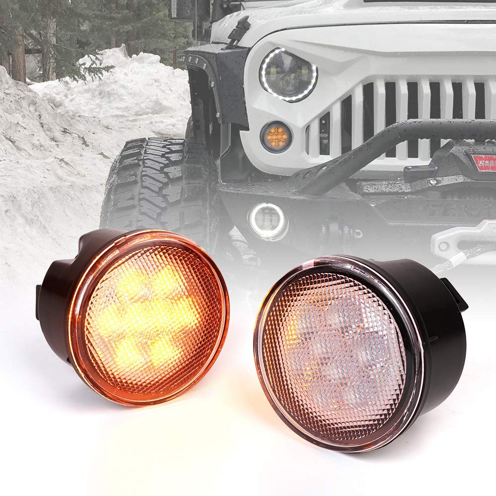 Xprite LED Turn Signal Lights Amber Clear Lens Front Turn Signal Assembly with Parking Funtion for 2007-2018 Jeep Wrangler JK /& Wrangler Unlimited