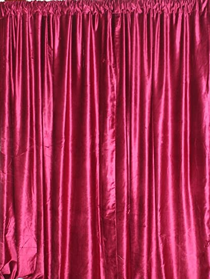 Wine Red Velvet Curtain 52 X 84 Inch Pair Curtains