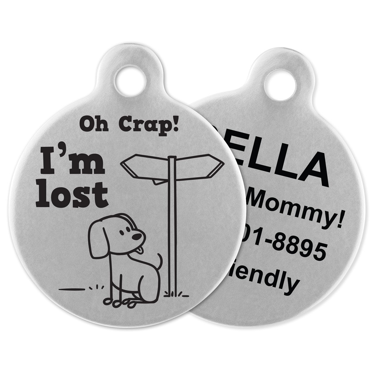 If It Barks Engraved Pet ID Tags For Dogs - Personalized Pet ID Name Tag Attachment - Made in USA, Stainless Steel Dog Tags (I'm Lost)