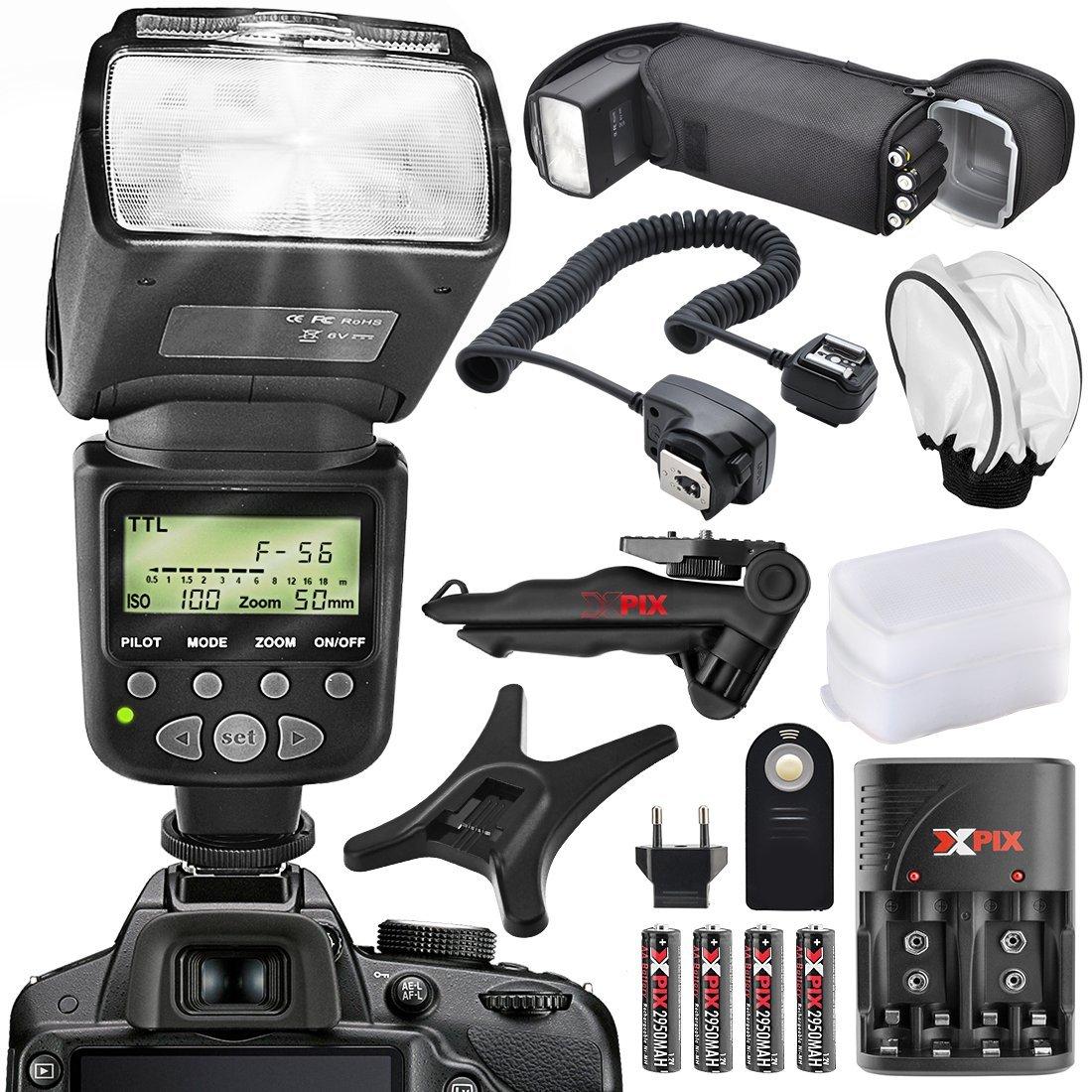 XPIX High Power Auto-Focus Digital SLR Flash for Nikon Camera with Deluxe Accessory Bundle