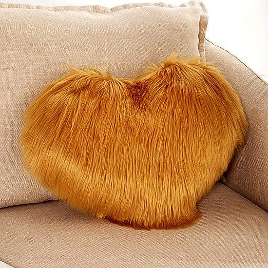 Lionina - Cojín de Pelo sintético Mullido, 40 x 50 cm, Liso, con Forma de corazón, Ideal para Decorar el sofá del Coche, H, Tamaño Libre