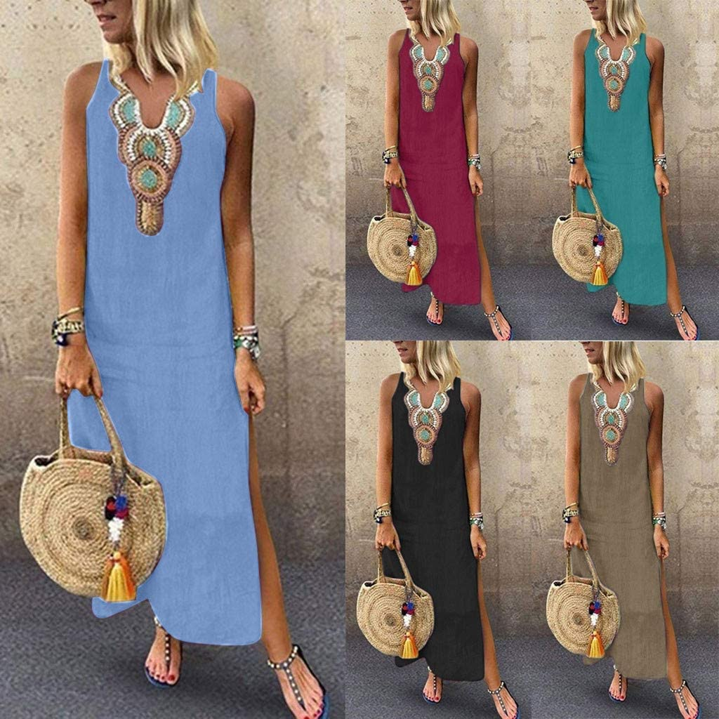 Gerichy Maxi Dresses for Womens Sleeveless Printed Casual Slit Geometric Summer Holiday Long Dress
