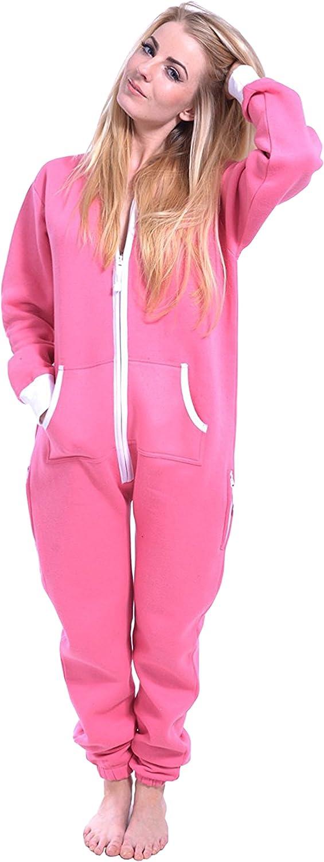 Mujeres Newfacelook señoras hoodie onesie simple todo en un archivo zip una pieza encapuchada