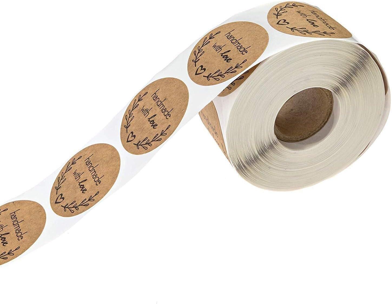 500 /étiquettes par Rouleau Bureau et Papeterie Moent /Étiquette autocollante Ronde 1 Pouce Kraft Naturel cuit avec des Autocollants damour