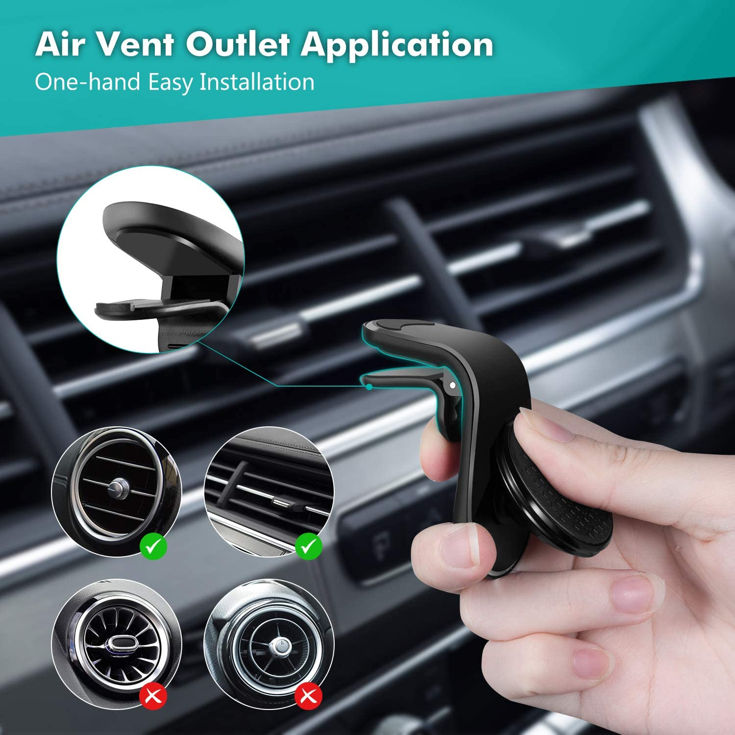 Eono by Magnetic Phone Car Mount Car Phone Holder Magnetic Phone Holder for Horizontal Air Outlet for All Smartphones L Type Air Vent Clip Mount 360/°Flexible Rotation Black 5 Magnets