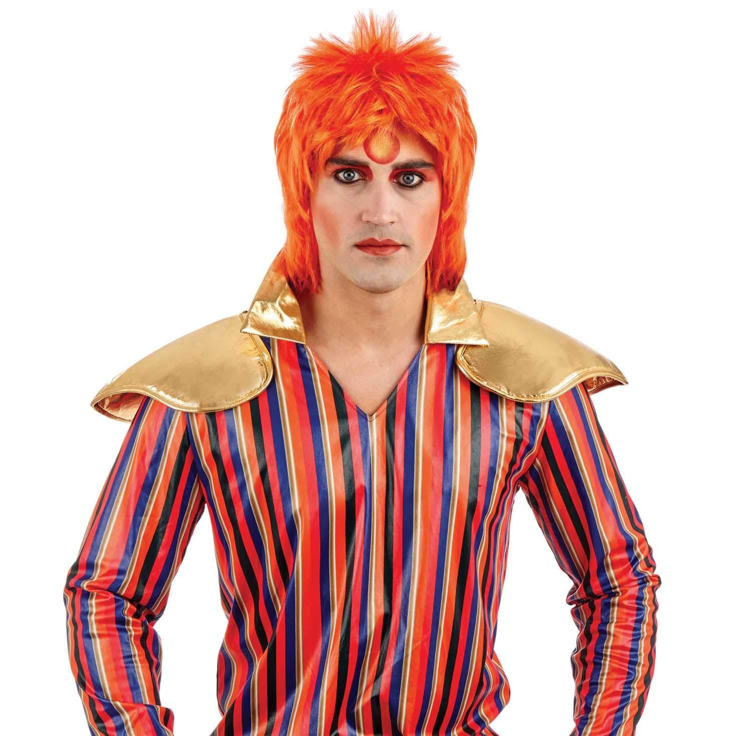 Ginger Glam Rock Wig Mens Fancy Dress Ziggy Stardust Bowie Accesorio de disfraces para adultos