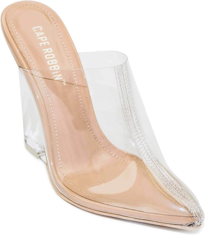 Cape Robbin Women's Sugar Transparent Lucite Clear Wedge Heel PVC Closed Toe Slip On Mules