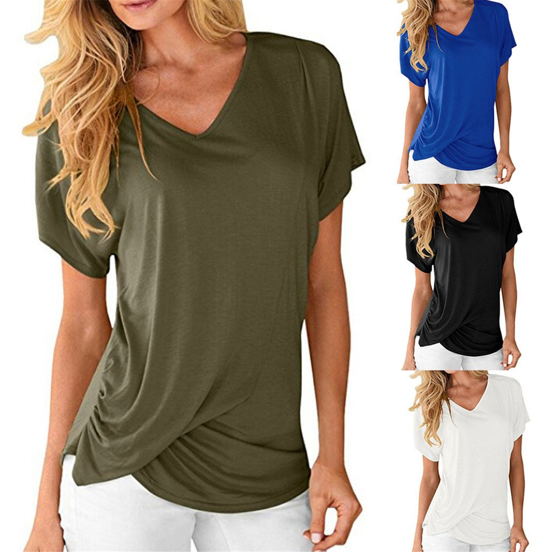 Mose Womens Tops Solid Color Short Sleeve Tops V Neck Draped Plain
